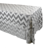 "Scratch & Dent Discontinued - Rectangle Chevron 90"" x 132"" Sequin Tablecloth by Eastern Mills - Silver"