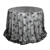 Round Black Lace Overlay - 108 Inches