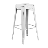 "30"" Distressed Stacking Metal Barstool - Snow"