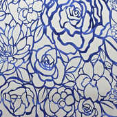 Royal Blue Floral Felt Cutout for Backdrop Panel - 10ft