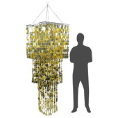 DecoStar™ Giant 3-Tiered Gold PVC Square Shimmer Chandelier - 8ft!