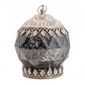 "DecoStar™ Pixie Jar™ Gray Mercury  Diamond Glass Mini Lantern - Internally Illuminated - 6"" x 5"""