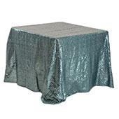 "Square 90"" x 90"" Sequin Tablecloth by Eastern Mills - Premium Quality - Grey Blue"