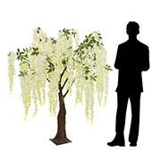 5FT Flowing Wisteria Tree w/ Leaves - Grand Centerpiece or Floor Tree - 9 Interchangeable Branches - Ivory