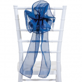 "DecoStar™ 9"" Sheer Flower Chair Accent - Navy Blue"