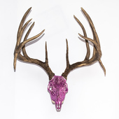 Massive Whitetail Deer Gem Skull - Replica - Encrusted w/ Pink Glitter - Free Wall Mount!