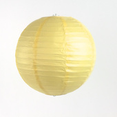 Round Paper Lantern In Baby Yellow/Ivory - Assorted Sizes