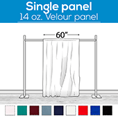 "14 oz. Production Performance Polyester Velour by Eastern Mills - Sewn Drape Panel w/ 4"" Rod Pockets - 15ft"