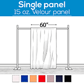 "15 oz. Inherently Fire Retardant Polyester Velour - Sewn Drape Panel 60"" Wide w/ 4"" Rod Pockets - 15ft"