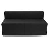 Titan Series Black Leather Loveseat With Brushed Stainless Steel Base