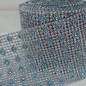 DecoStar™ Light Blue and Silver Patterned Rhinestone Mesh - 30 Foot Roll