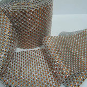 DecoStar™ Bronze and Silver Rhinestone Mesh-30 Foot Roll