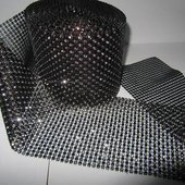 DecoStar™ Bronze and Silver Rhinestone Mesh -Dark - 30 Foot Roll