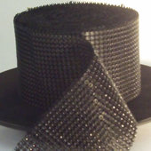 DecoStar™ Black Rhinestone Mesh-30 Foot Roll