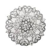 DecoStar™ Ornate Diamond-Encrusted Round Brooch in Silver