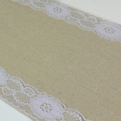"Burlap and Lace Table Runner - 12"" x 108"" (Lace on Sides)"