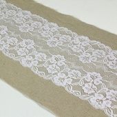 "Burlap and Lace Sash - 7"" x 108"" (Lace in Middle)"