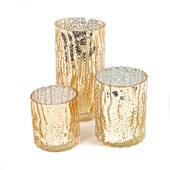 DecoStar™ Set of 3! Glam Wavy Etched Pattern Mercury Glass Candle/Votive Holder - Gold