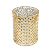"DecoStar™ 5 1/2"" Glam Diamond Etched Round Mercury Bottomless Candle/Votive Holder - Gold"