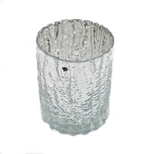 "DecoStar™ 4"" Glam Wavy Etched Pattern Mercury Glass Candle/Votive Holder - Silver"