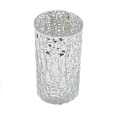 "DecoStar™ 6"" Glam Wavy Etched Pattern Mercury Glass Candle/Votive Holder - Silver"