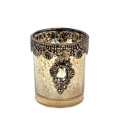 DecoStar™ 6 PACK - Vintage Gold Embellished Tea Light - Candle Holder - Medium