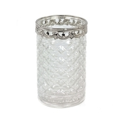 DecoStar™ 4 PACK - Diamond Etched Glass Vase W/ Silver Trim - Large