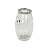 "DecoStar™ 4 PACK - 4 1/2"" Stripe Etched Glass Vase W/ Silver Trim - Slim"