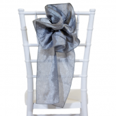 "DecoStar™ 9"" Crushed Taffeta Flower Chair Accent - Silver"