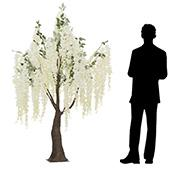 6.5FT Flowing Wisteria Tree w/ Leaves - Grand Center Piece or Floor Tree - White